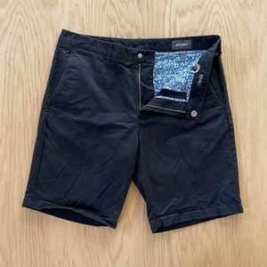 """Mens BONOBOS Washed Chino Shorts 9"""" Inseam 34 Navy Blue"""
